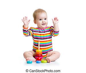 gyermekek játék, noha, szín, piramis, játékszer