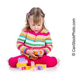 gyermekek játék, noha, színpompás, toys., elszigetelt, white, háttér