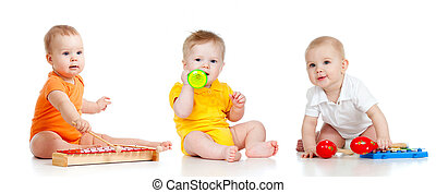 gyermekek játék, noha, zenés, toys., elszigetelt, white, háttér