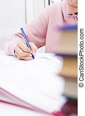 gyermekek, kéz, closeup, írás