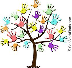 gyermekek, nyomtatványok, egyesült, fa, kéz