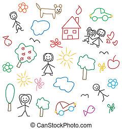 gyermekek, patte, -, rajz, seamless