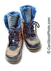 gyermekek, tél, cipők