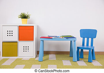 gyermekek, tanul, kényelmes, hely
