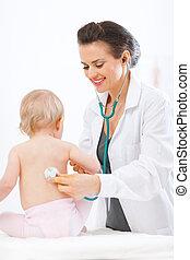 gyermekgyógyászati, orvos, megvizsgál, csecsemő, használ...