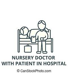 gyermekszoba, türelmes, lineáris, orvos, fogalom, kórház, aláír, vektor, ikon, egyenes, jelkép, áttekintés