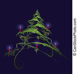 gyertya, díszes, fa, karácsony
