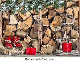 gyertya, fa, dekoráció, szakma, karácsony, piros