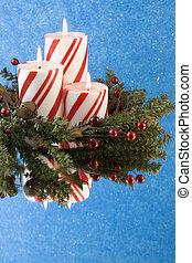 gyertya, karika, három, lombozat, karácsony
