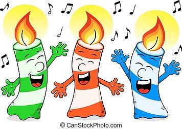gyertya, születésnap, éneklés, karikatúra, dal