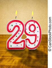 gyertya, születésnap, szám, égető, 29