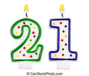 gyertya, születésnap, szám, huszonegy