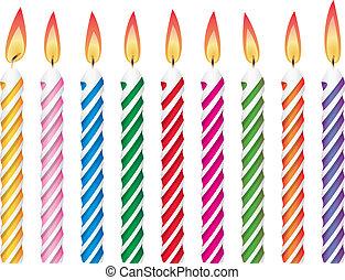 gyertya, születésnap, színes