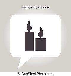 gyertya, vektor, ikon