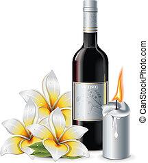 gyertya, virág, bor
