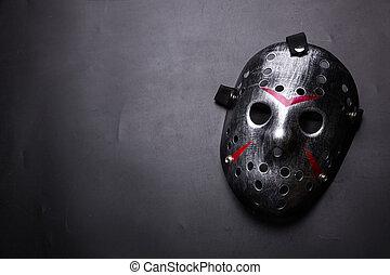 gyilkos, maszk, elszigetelt, fekete, jégkorong, lépcső