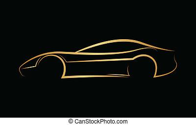 gylden, abstrakt, automobilen, logo.