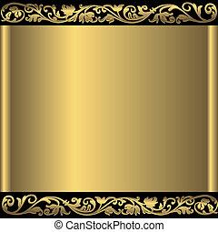 gylden, abstrakt, baggrund, (vector)