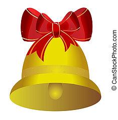 gylden, bøje sig, jul, rød, klokke