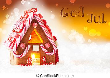 Gylden, betyder, Gud, Hus, Baggrund, jul, Merry,...