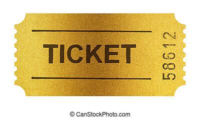 gylden, billet, isoleret, på hvide, hos, udklip sti