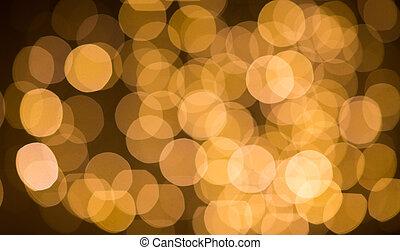 gylden, bokeh, slør, lys