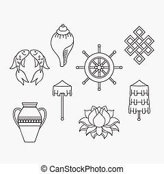 gylden, fish, blomst, right-coiled, lotus, buddisme,...