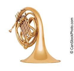 gylden, isoleret, fransk horn, baggrund, hvid