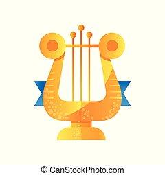 gylden, kendelse, vektor, musik, illustration, baggrund, lyre, hvid