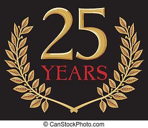 gylden, krans, laurbær, 25, år