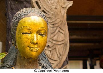 gylden, kvindelig, af træ, zeseed, lamphun, statue