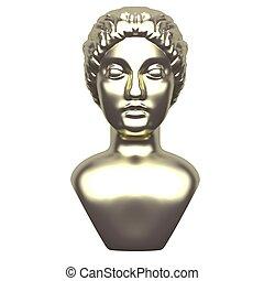 gylden, kvindelig, baggrund., antik, hvid, 3, statue, gengivelse, anføreren