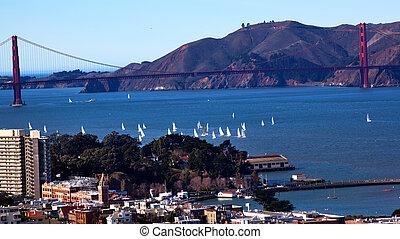 gylden låge bro, afsejle, både, san francisco, californien