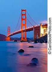 gylden låge bro, efter, solnedgang, san francisco
