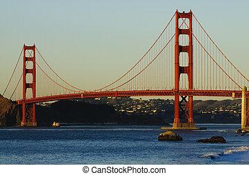 gylden låge bro, hos, solnedgang