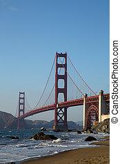 gylden låge bro, hos, solnedgang, san francisco