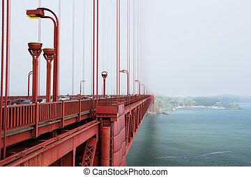 gylden låge bro, ind, den, formiddag, tåge, san francisco