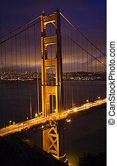 gylden låge bro, nat, vertikal, san francisco, californien