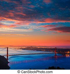 gylden låge bro, san francisco, solopgang, californien