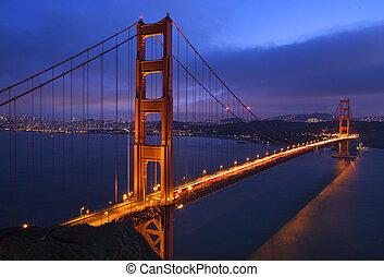 gylden låge bro, solnedgang, lyserød, himle, san francisco, californien