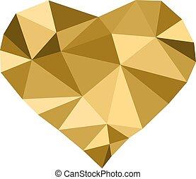 gylden, lavtliggende, poly, hjerte