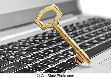 gylden, nøgle, symbol, i, garanti, ind, internet, og, computer, science., på, den, laptop.