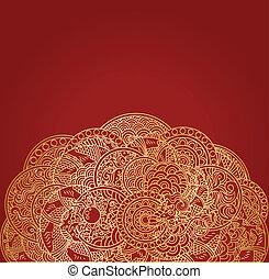 gylden, ornamentere, drage, asiat, baggrund, rød