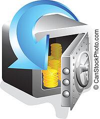 gylden, pengeskab, åbn, bank, mønt