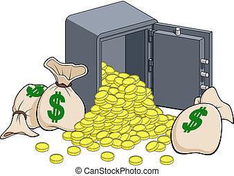 gylden, pengeskab, mønter