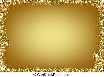 gylden, ramme, jul