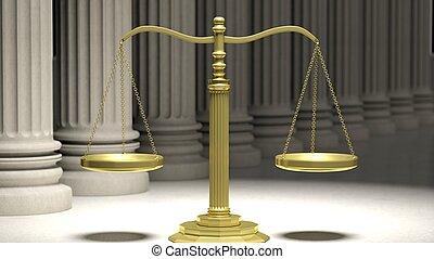 gylden, retfærdighed skala, hos, ancient, piller, ind, baggrund.