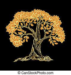 gylden, træ, på, sort