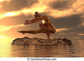 gylden, yoga, hav, illustration, statue, pige, 3