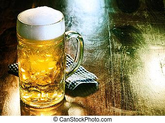 gyllene, öl, öl barometer, sejdel, utkast, eller